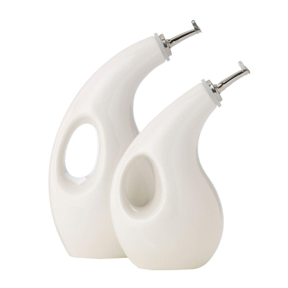 Rachael Ray Stoneware EVOO and Vinegar in White (2-Piece Set)