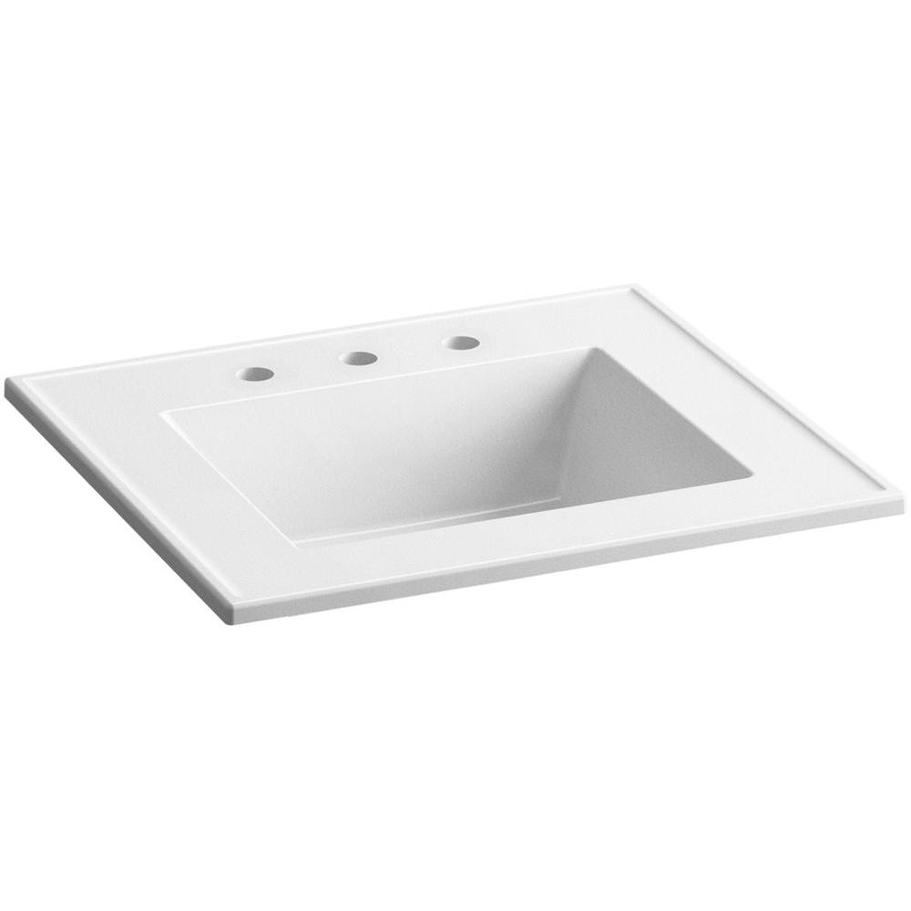 Ceramic/Impressions 25 in. Vitreous China Vanity Top with Basin in White