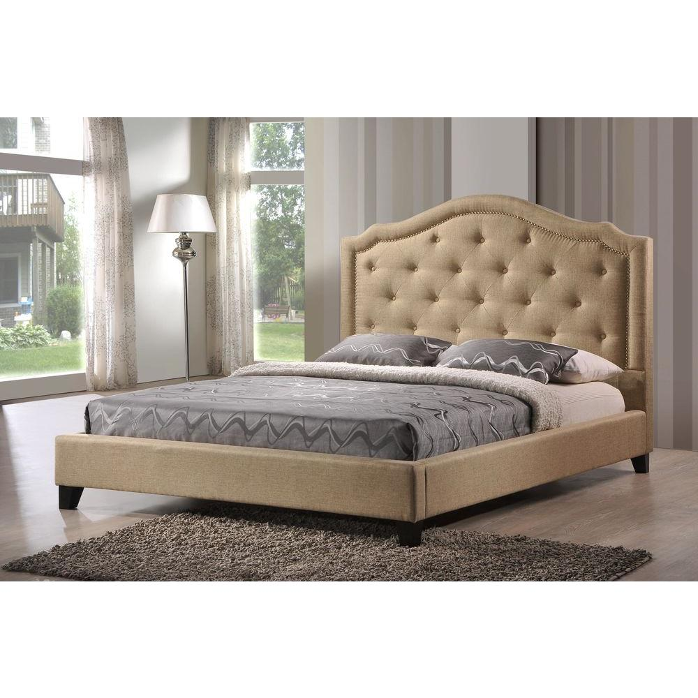 LuXeo Brentwood Fabric King-Size Tufted Upholstered Platform Contemporary Bed in