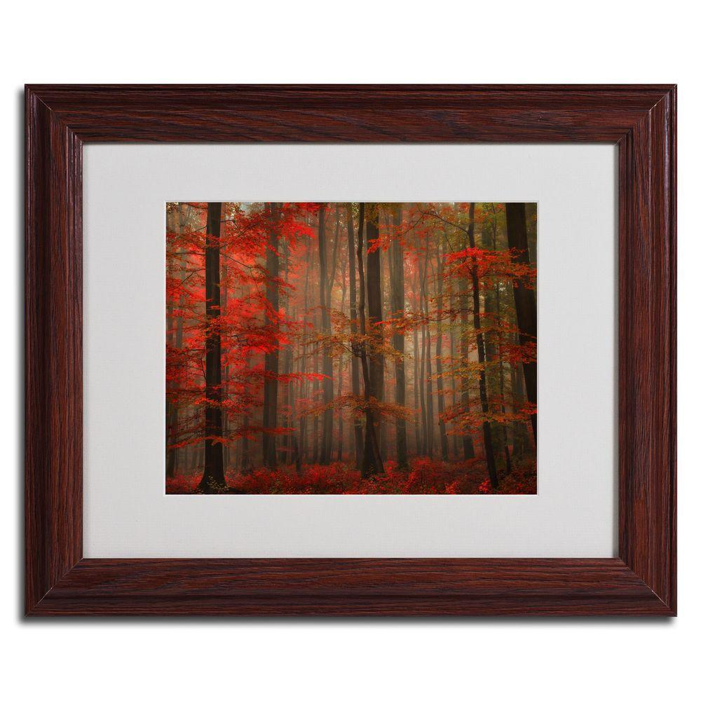 null 16 in. x 20 in. Enchanting Red Dark Wooden Framed Matted Art-DISCONTINUED