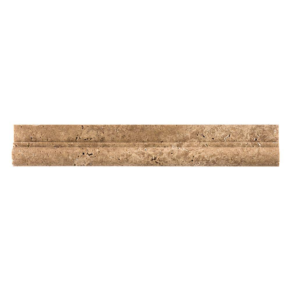 Jeffrey Court Noce 2 in. x 12 in. Travertine Crown Wall Tile, Brown