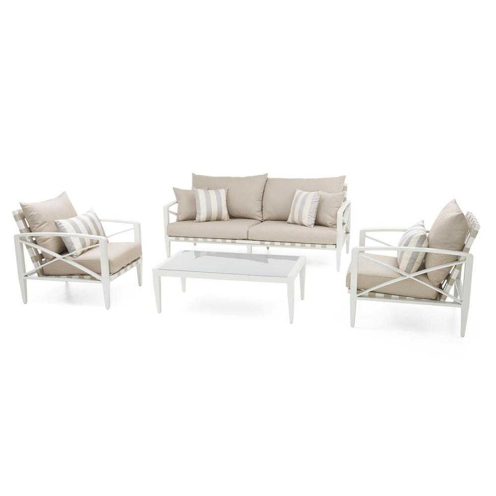 Knoxville Cream 4-Piece Aluminum Patio Seating Set with Slate Grey Cushions