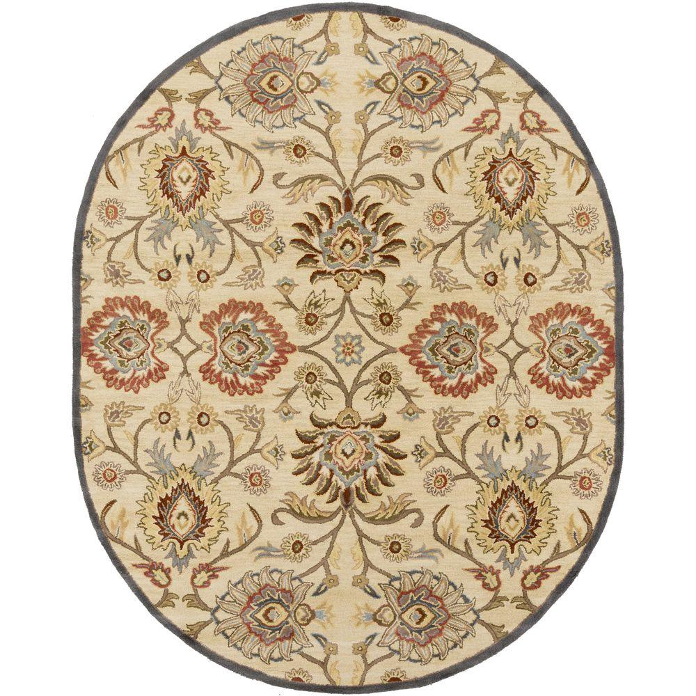 Cambrai Olive 8 ft. x 10 ft. Oval Indoor Area Rug