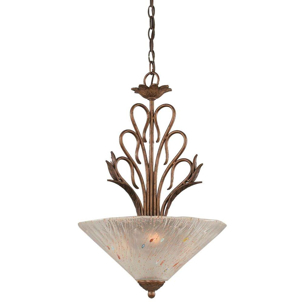 Concord 3-Light Bronze Pendant with Frosted Crystal Glass