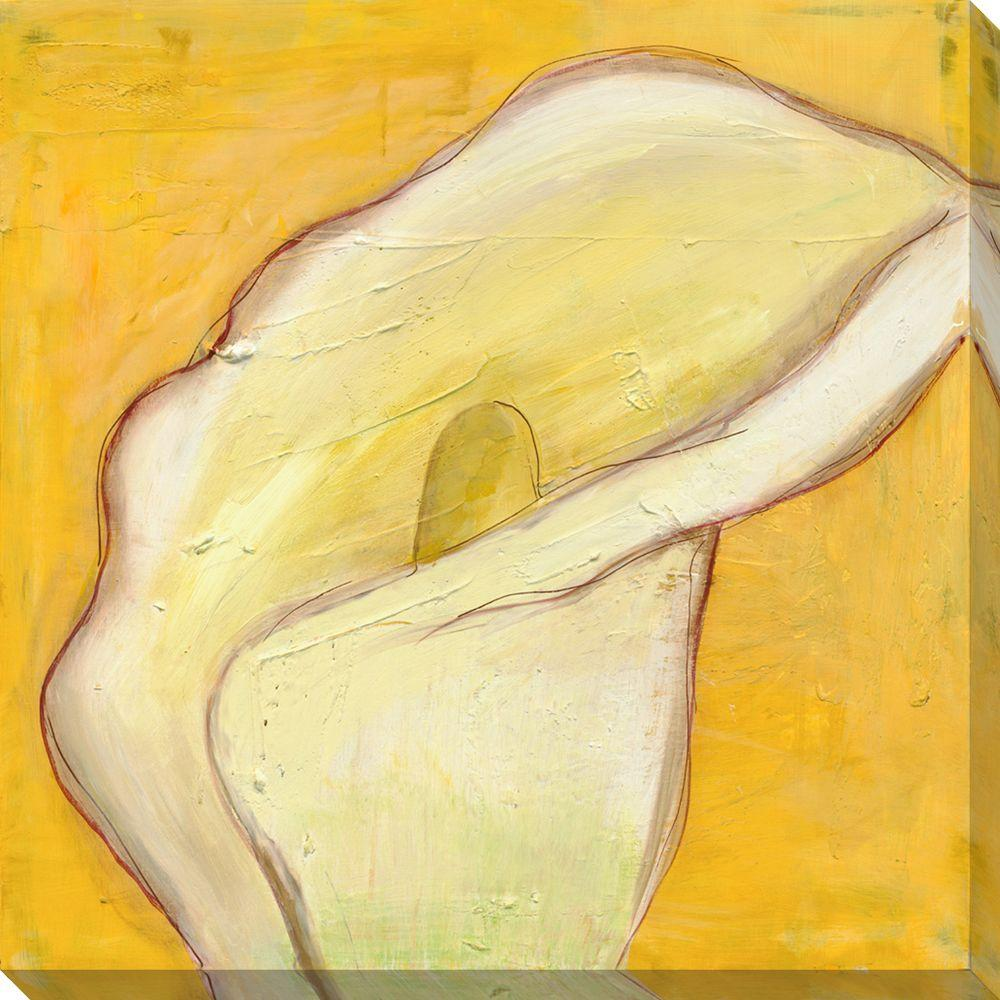 NEP Art 40 in. x 40 in. Calla Lily on Gold I Oversized Canvas Gallery Wrap