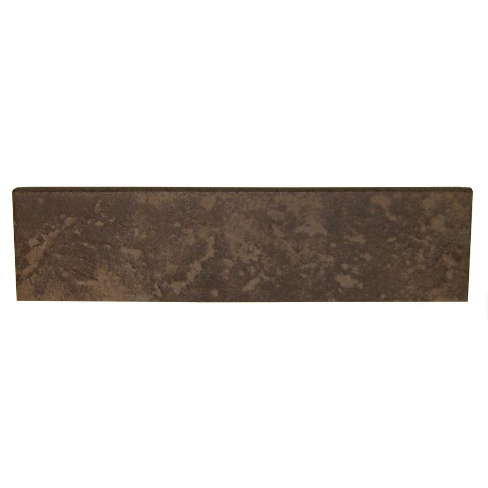 Daltile Continental Slate Moroccan Brown 3 in. x 12 in. Porcelain Bullnose Floor and Wall Tile