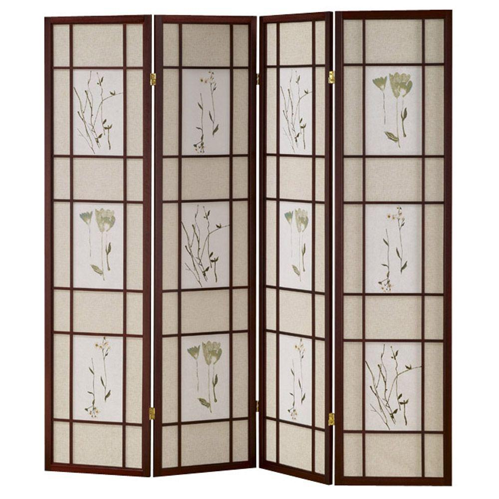 Home Decorators Collection 4-Panel Shoji Screen Room Divider with Cherry Finish