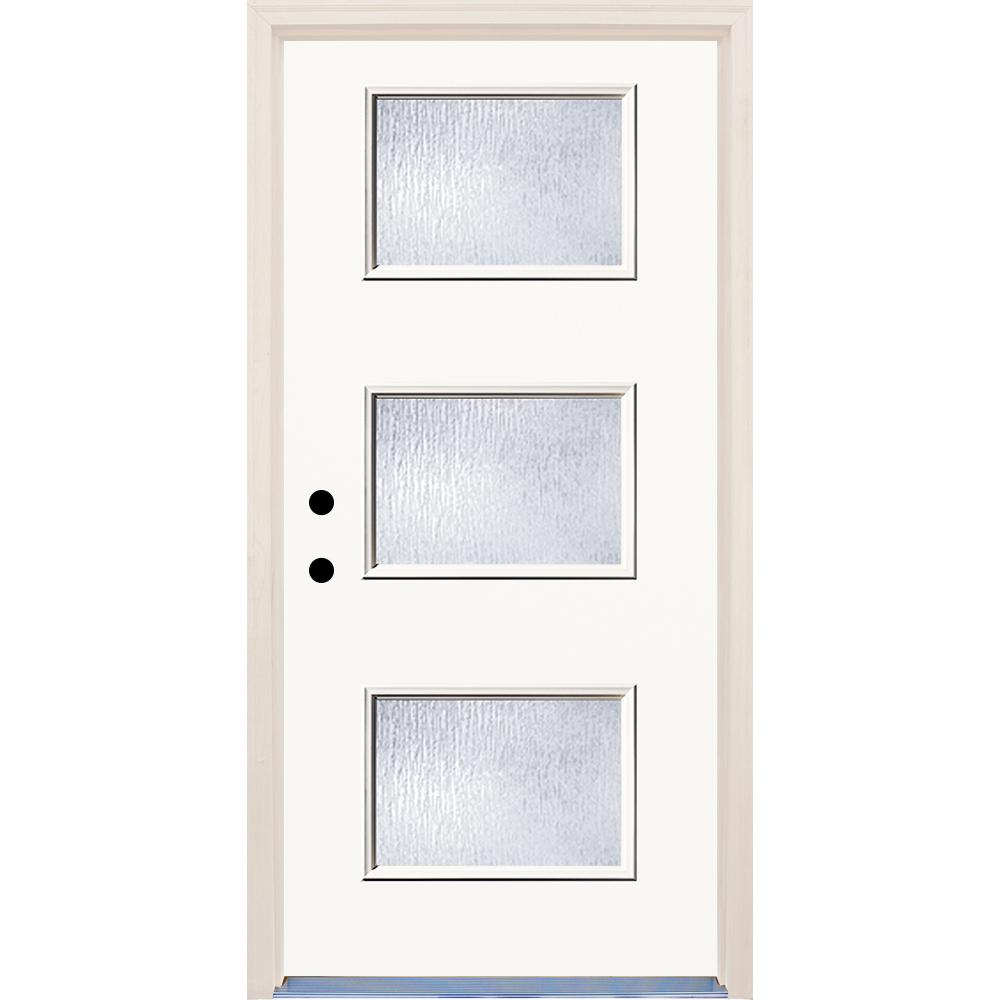 36 in. x 80 in. Classic 3 Lite Rain Glass Painted