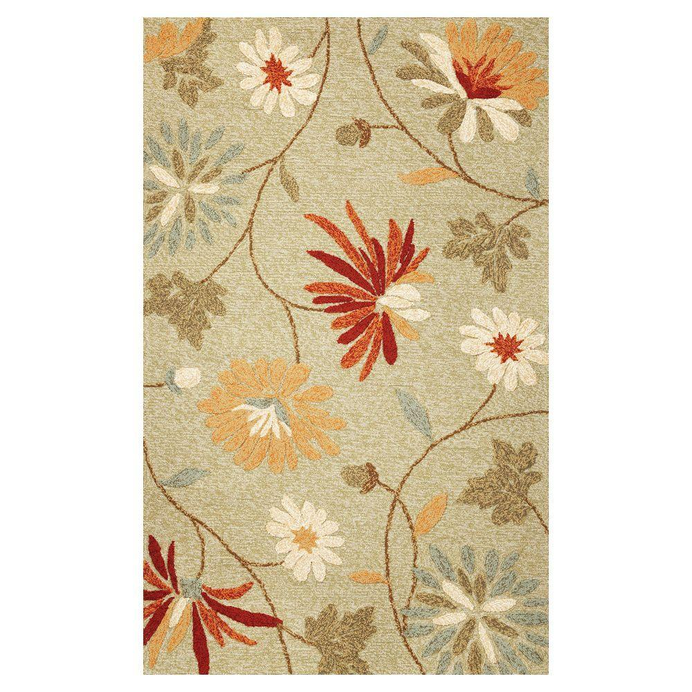 Kas Rugs Playful Flowers Sage 3 ft. 3 in. x 5