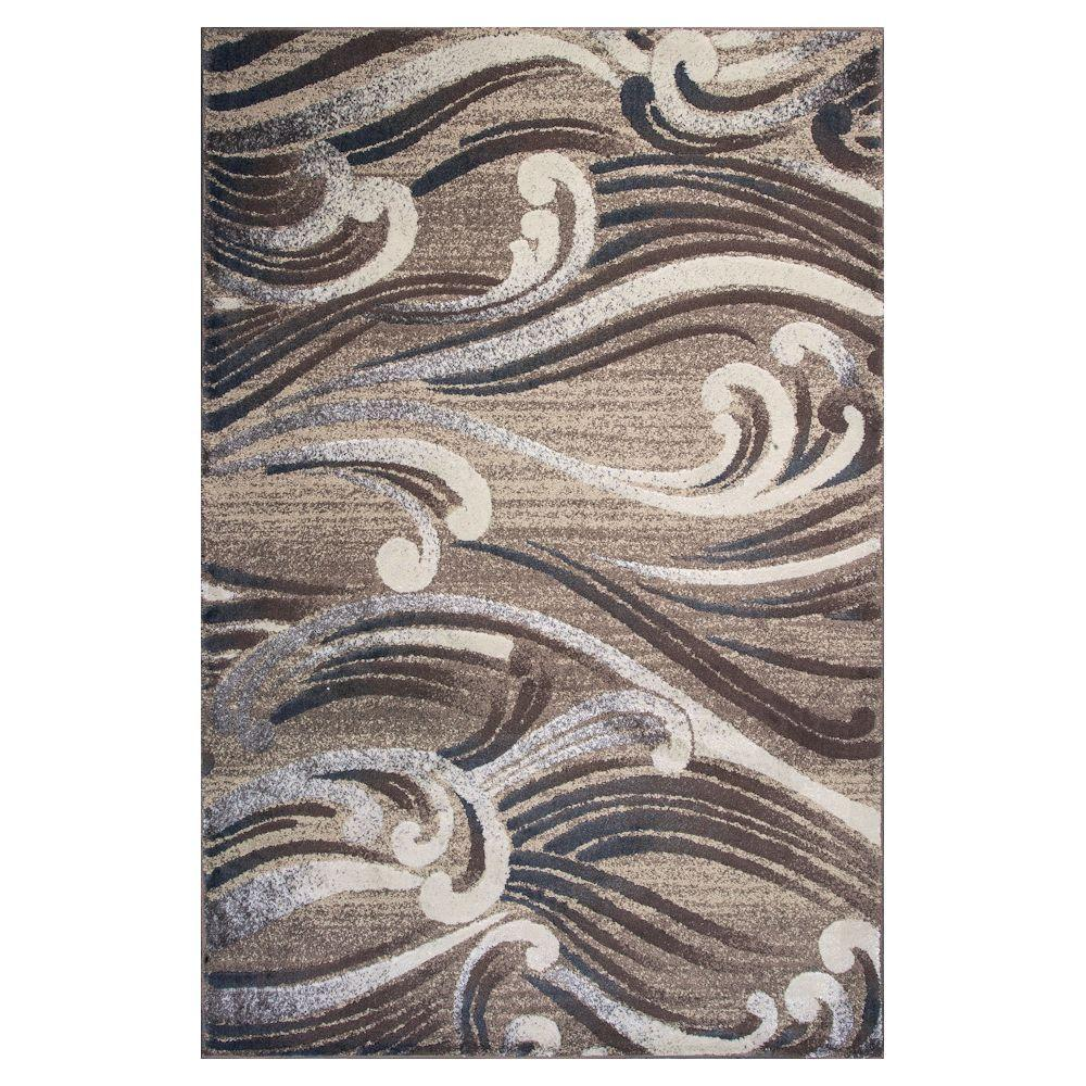 Natural Scrolls Beige 5 ft. 3 in. x 7 ft. 8 in. Area Rug