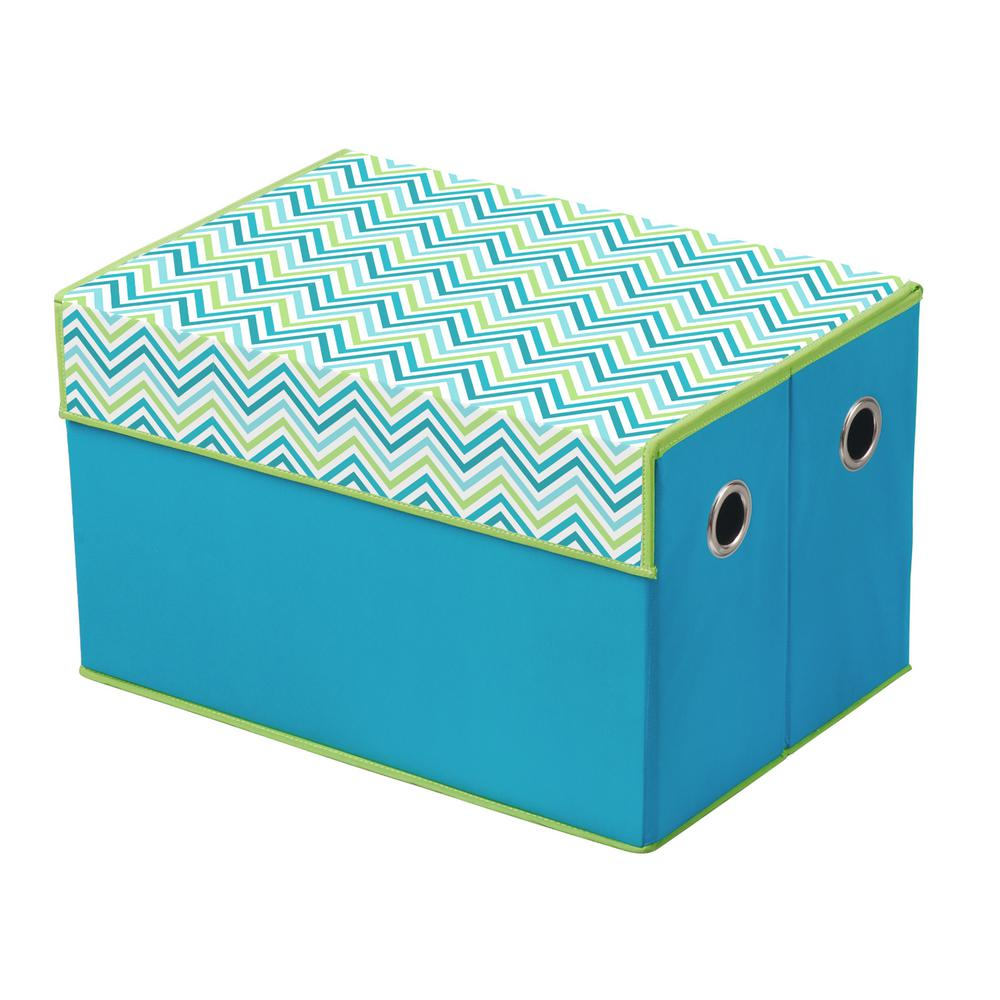 Foldable Storage Chest in Chevron Blue and Grey