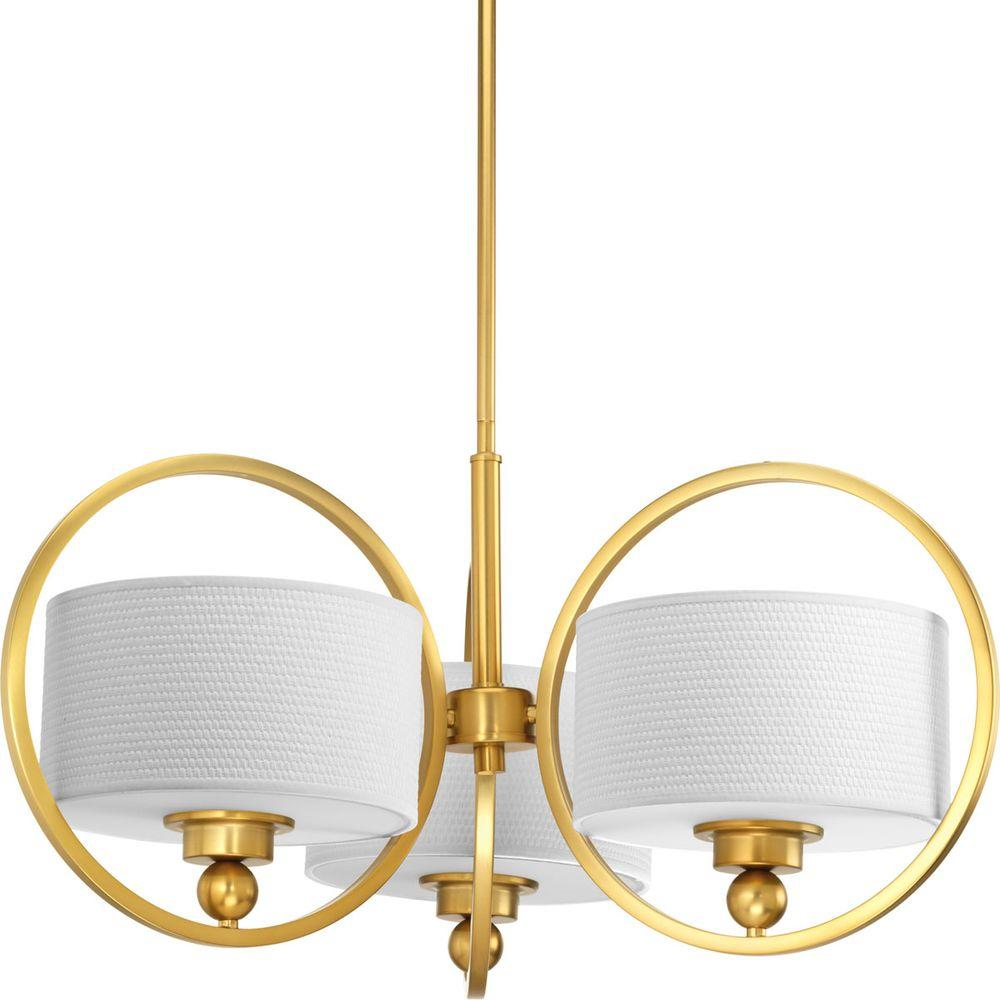 Progress Lighting Harmony Collection 3-Light Natural Brass Chandelier-P4491-137