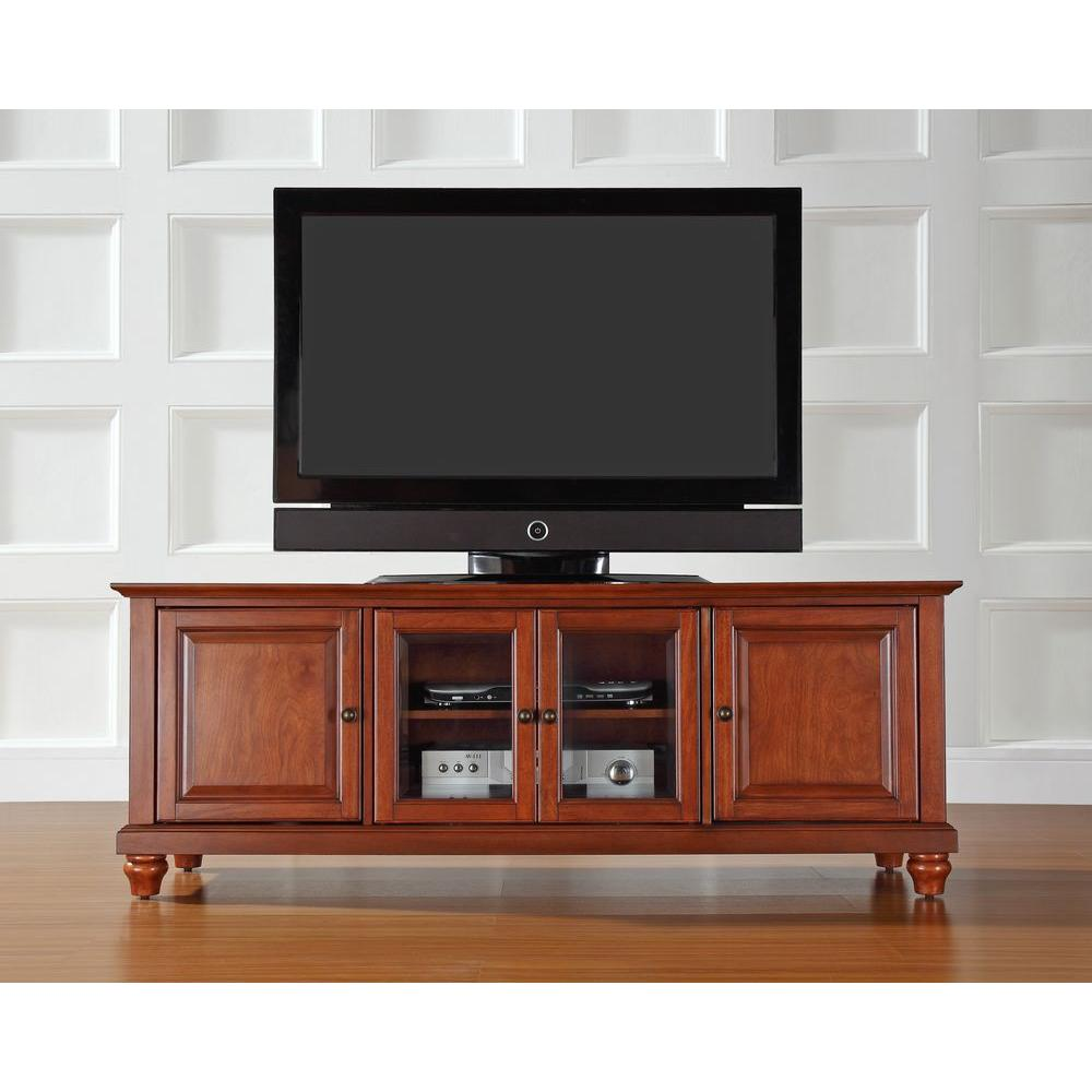 Crosley Cambridge Low Profile TV Stand in Cherry-KF10005DCH - The Home