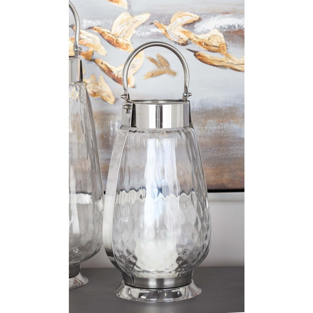 16 in. Silver-Finished Stainless Steel and Glass Candle Holder