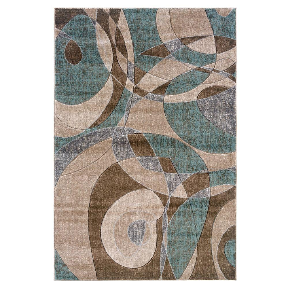 Linon Home Decor Milan Collection Brown And Turquoise 8 Ft X 10 Ft 3 In Indoor Area Rug Rug