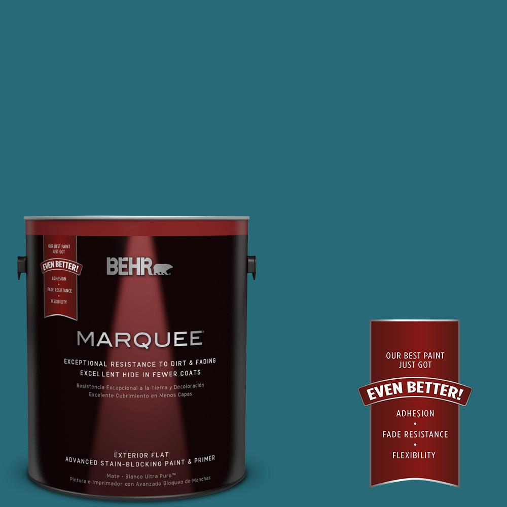 BEHR MARQUEE 1-gal. #M470-7 Blue Stream Flat Exterior Paint-445301 - The