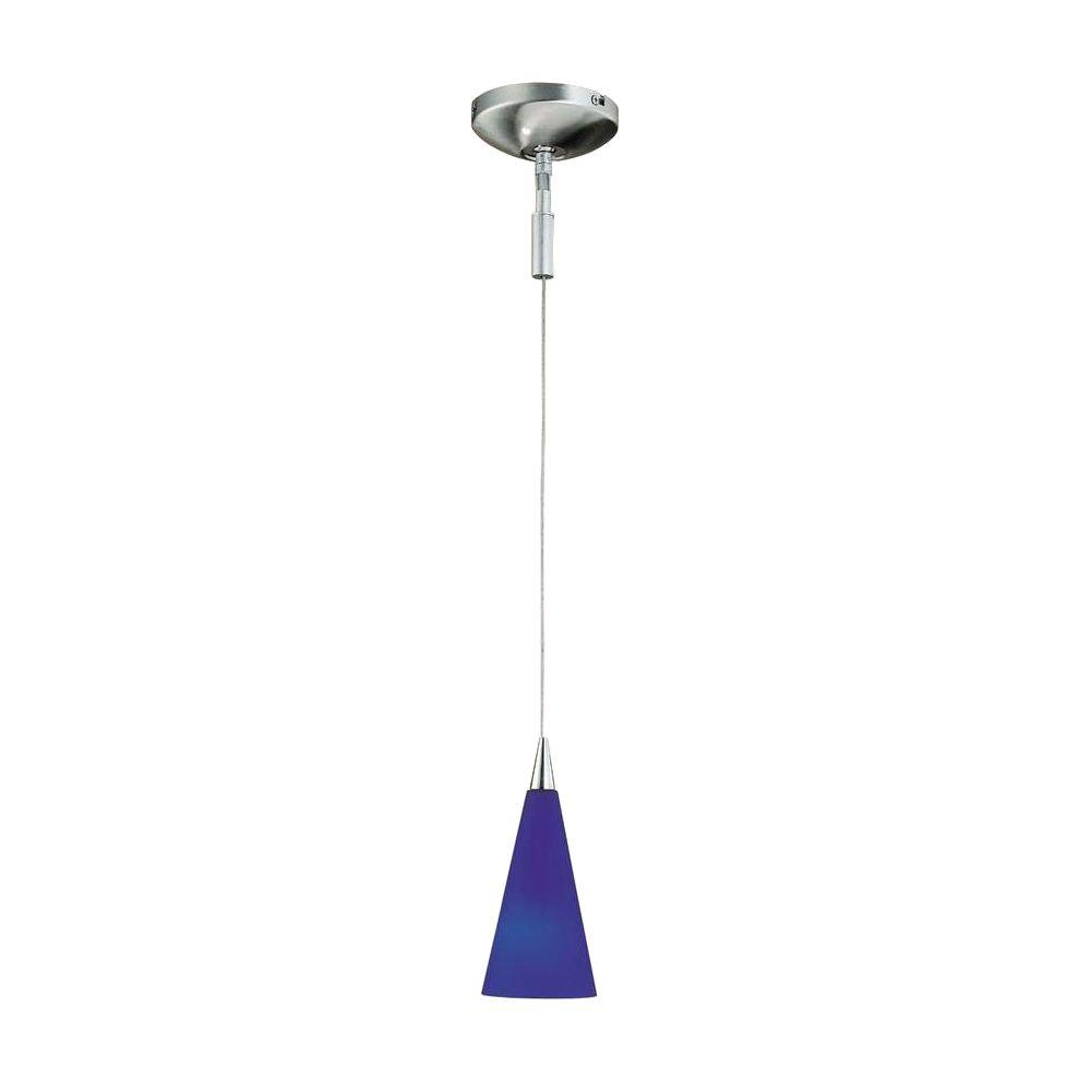 Hampton Bay 1-Light Brushed Steel Hanging Pendant with Blue Frosted Glass