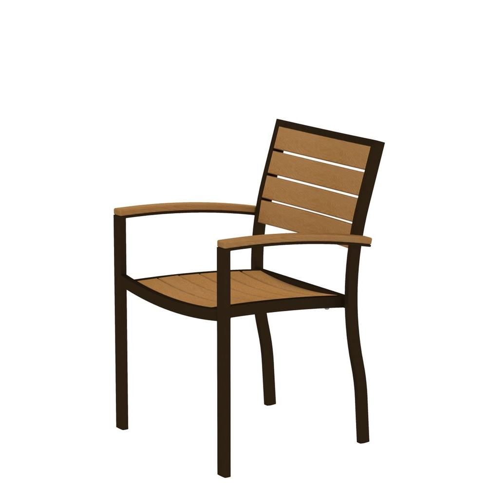 Euro Textured Bronze Patio Dining Arm Chair with Plastique Natural Teak