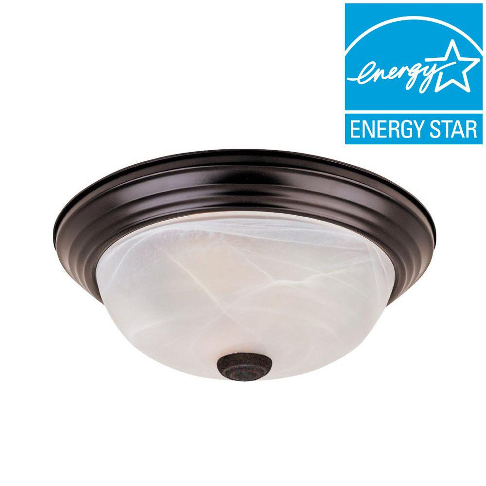 Shelley Collection 2-Light Oil Rubbed Bronze Fluorescent Ceiling Compact Flushmount