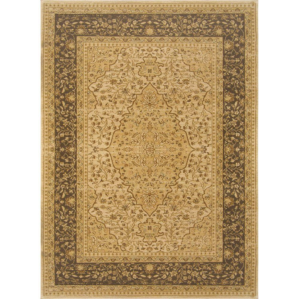 Home Dynamix Antiqua Cream/Brown 9 ft. 2 in. x 12 ft. 5 in. Area Rug
