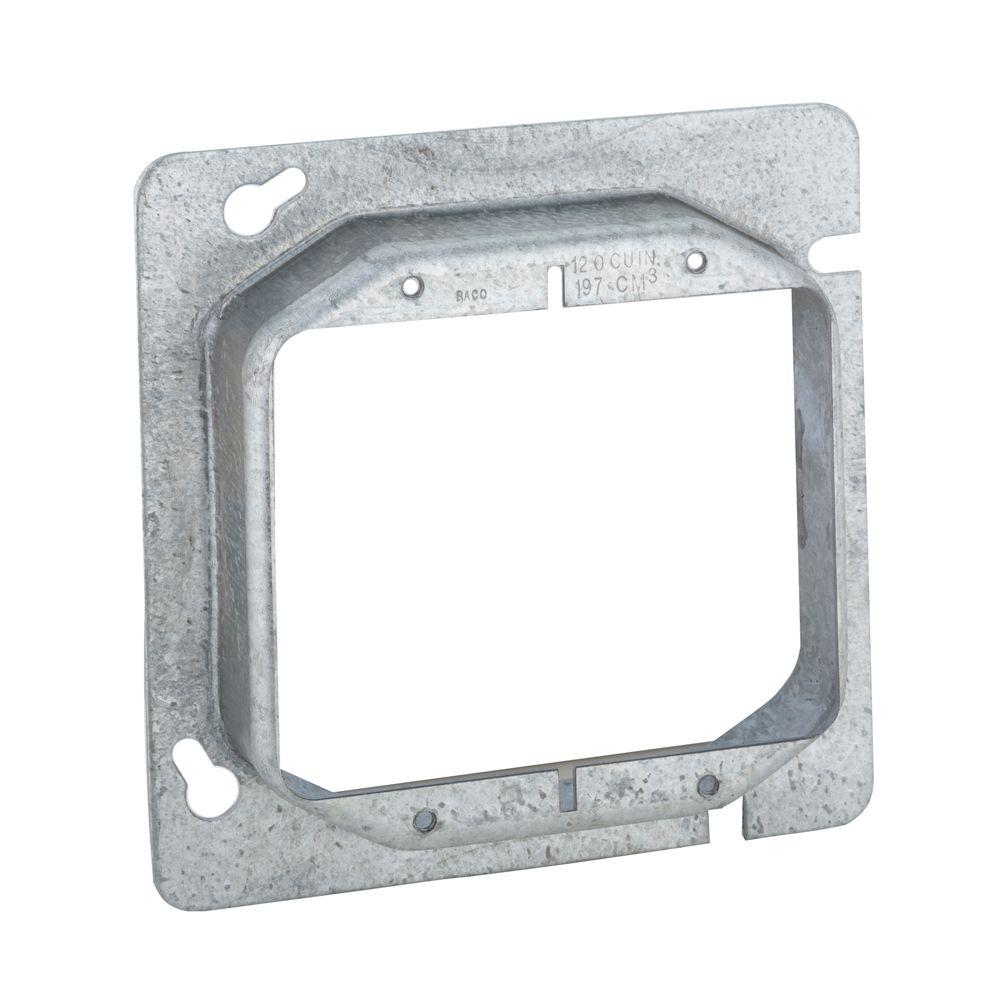 4-11/16 in. Square Two Device Mud Ring, Raised 1 in. (25-Pack)-819