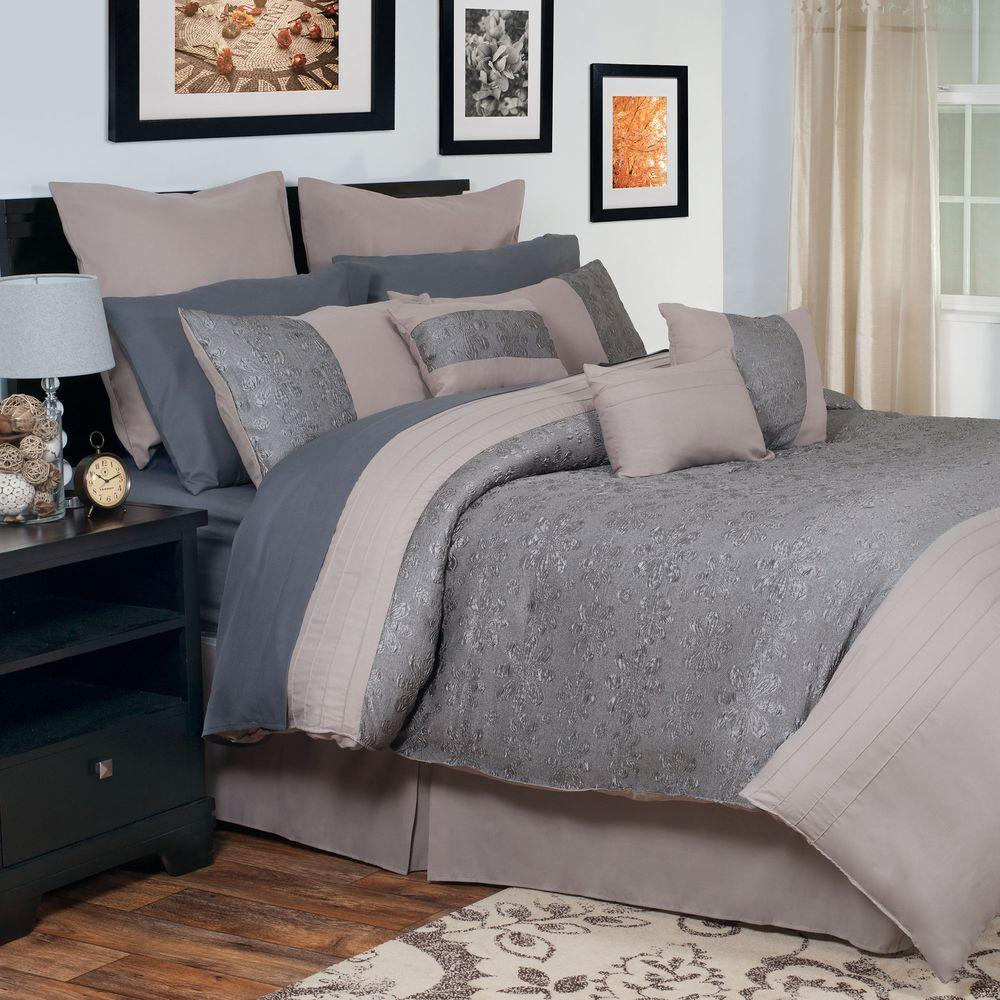 Gray Embroidered Comforter : Lavish home leah gray embroidered piece queen comforter