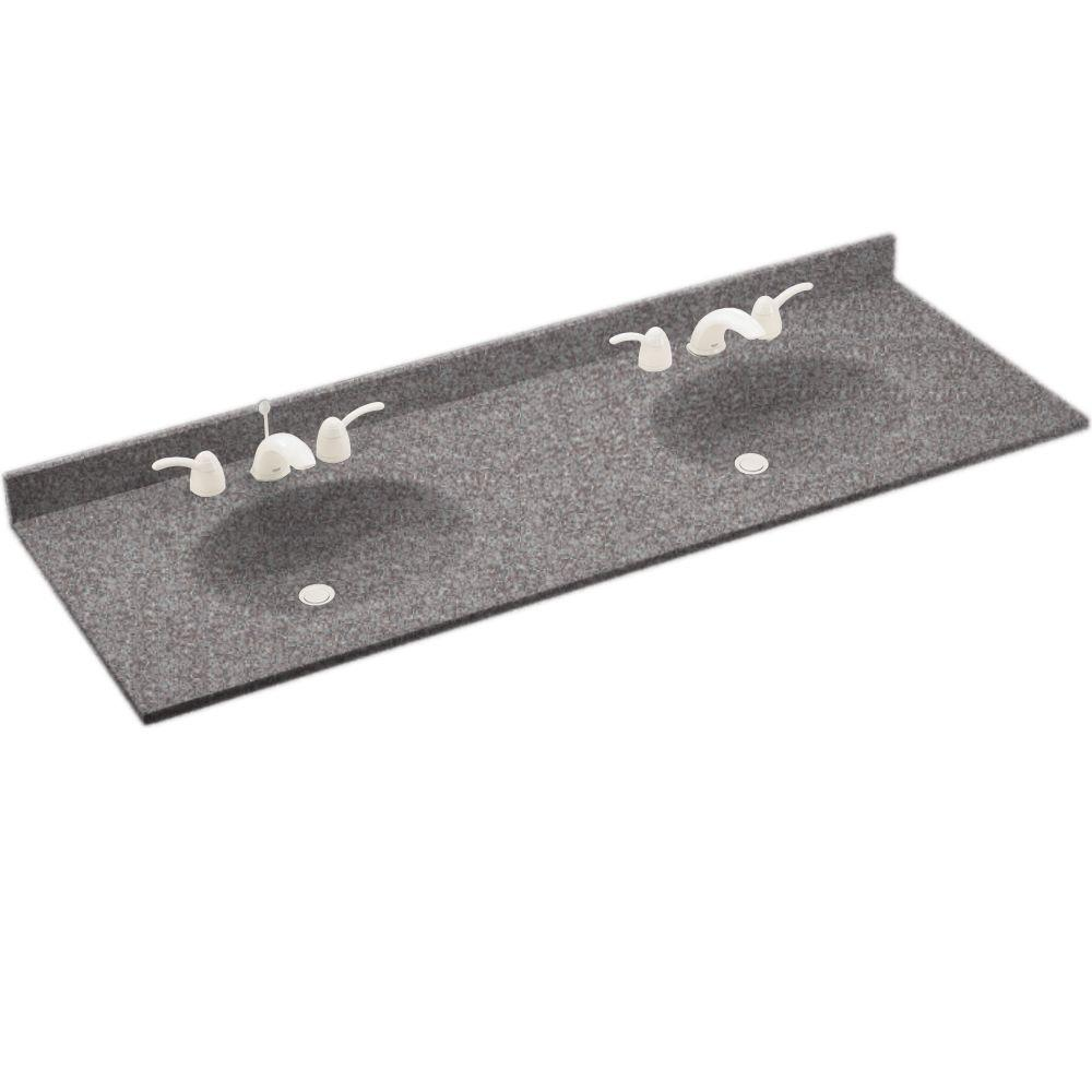 Swanstone Chesapeake 73 in. Solid Surface Double Basin Vanity Top with Bowl in Purple Sage-DISCONTINUED
