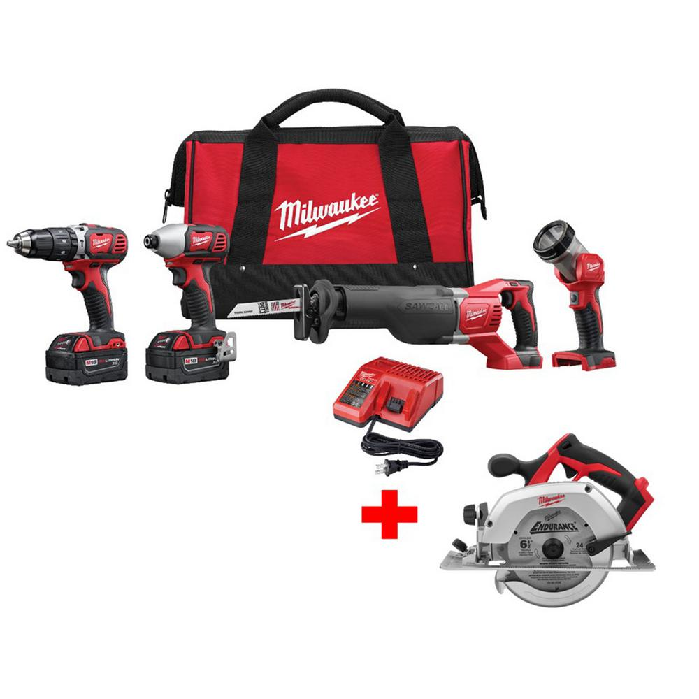 M18 18-Volt Cordless Lithium-Ion Hammer Drill/Impact/SAWZALL/Light Combo Kit
