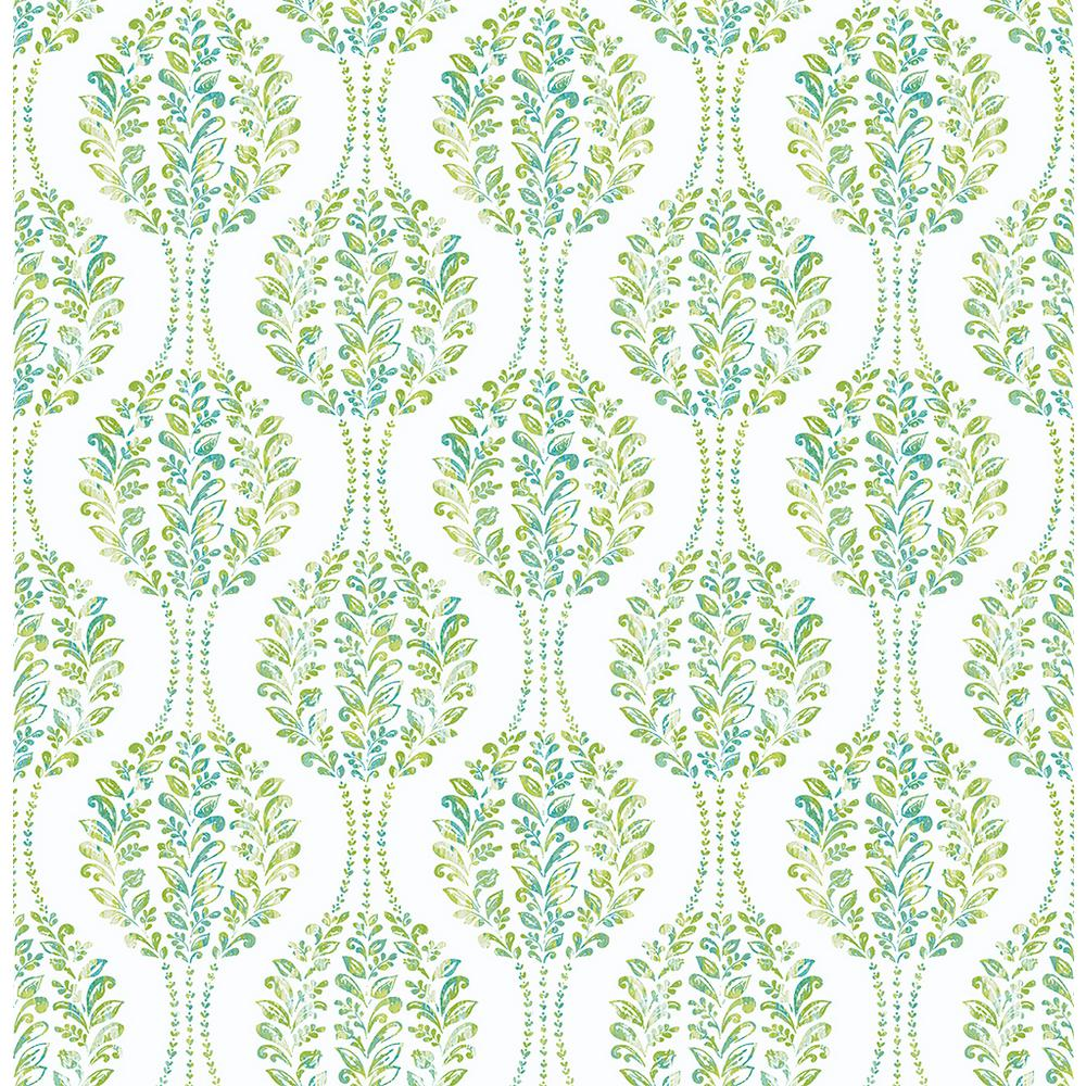 8 in. x 10 in. Versailles Green Floral Damask Wallpaper Sample