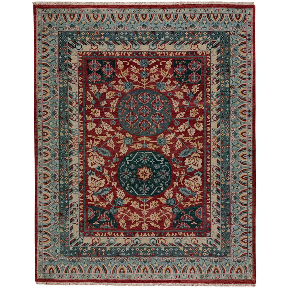 Biltmore Plantation Dark Red Blue Journet 8 ft. 6 in. x