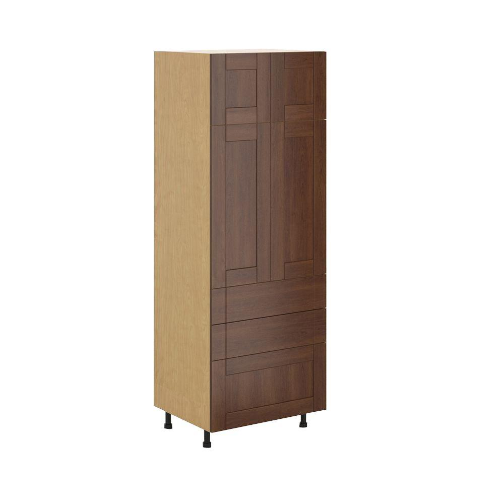 Ready to Assemble 30x83.5x24.5 in. Lyon 3-Drawer Pantry Cabinet in Maple Melamine and Door in Medium Brown, Melamine Maple