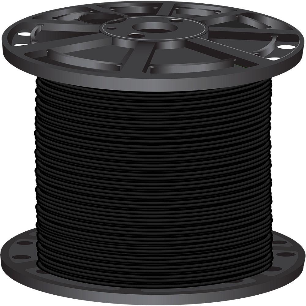 Southwire 2,500 ft. 1-Gauge Black Stranded CU SIMpull THHN Wire-20504705 -