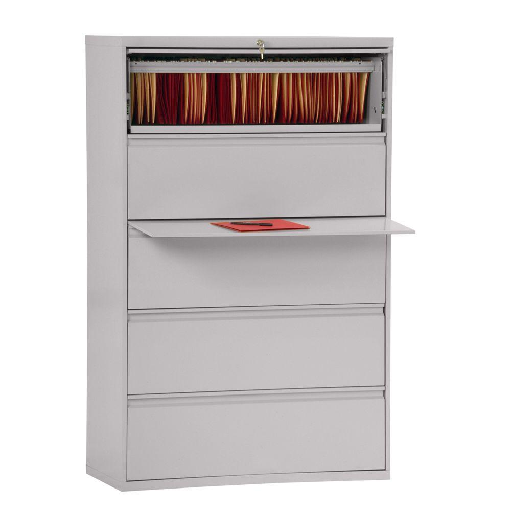 Sandusky 800 Series 42 in. W 5-Drawer Full Pull Lateral File Cabinet in Dove Gray