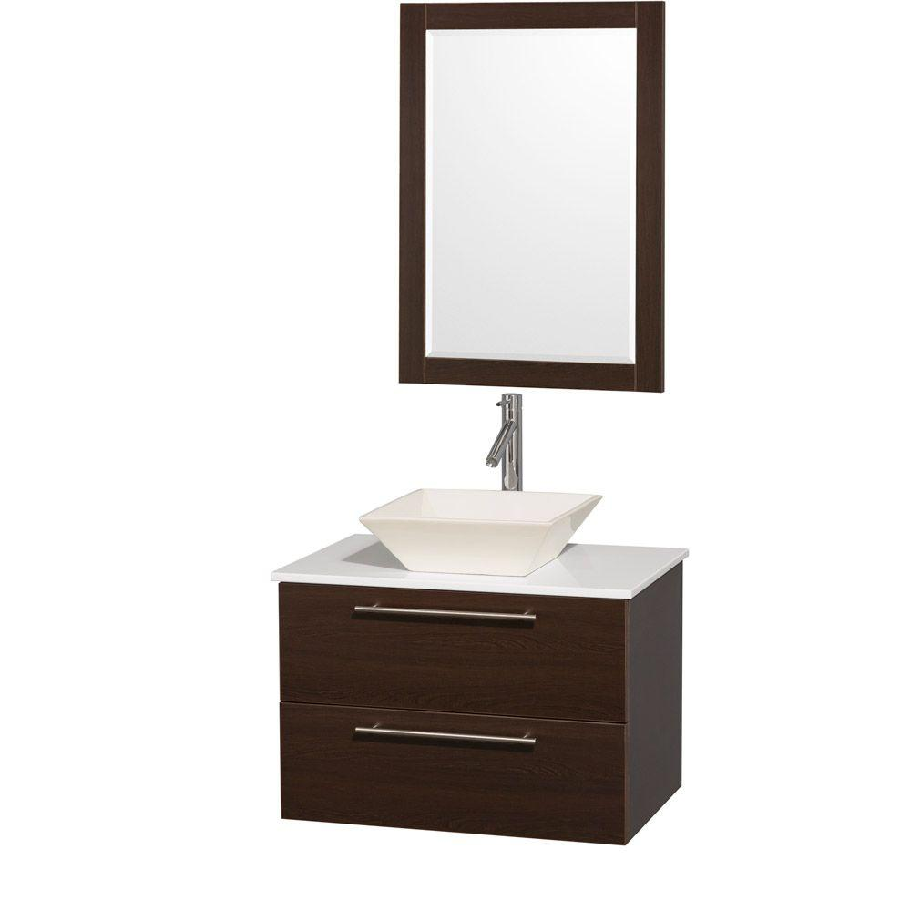 Wyndham Collection Amare 30 in. Vanity in Espresso with Man-Made Stone Vanity Top in White and Bone Porcelain Sink