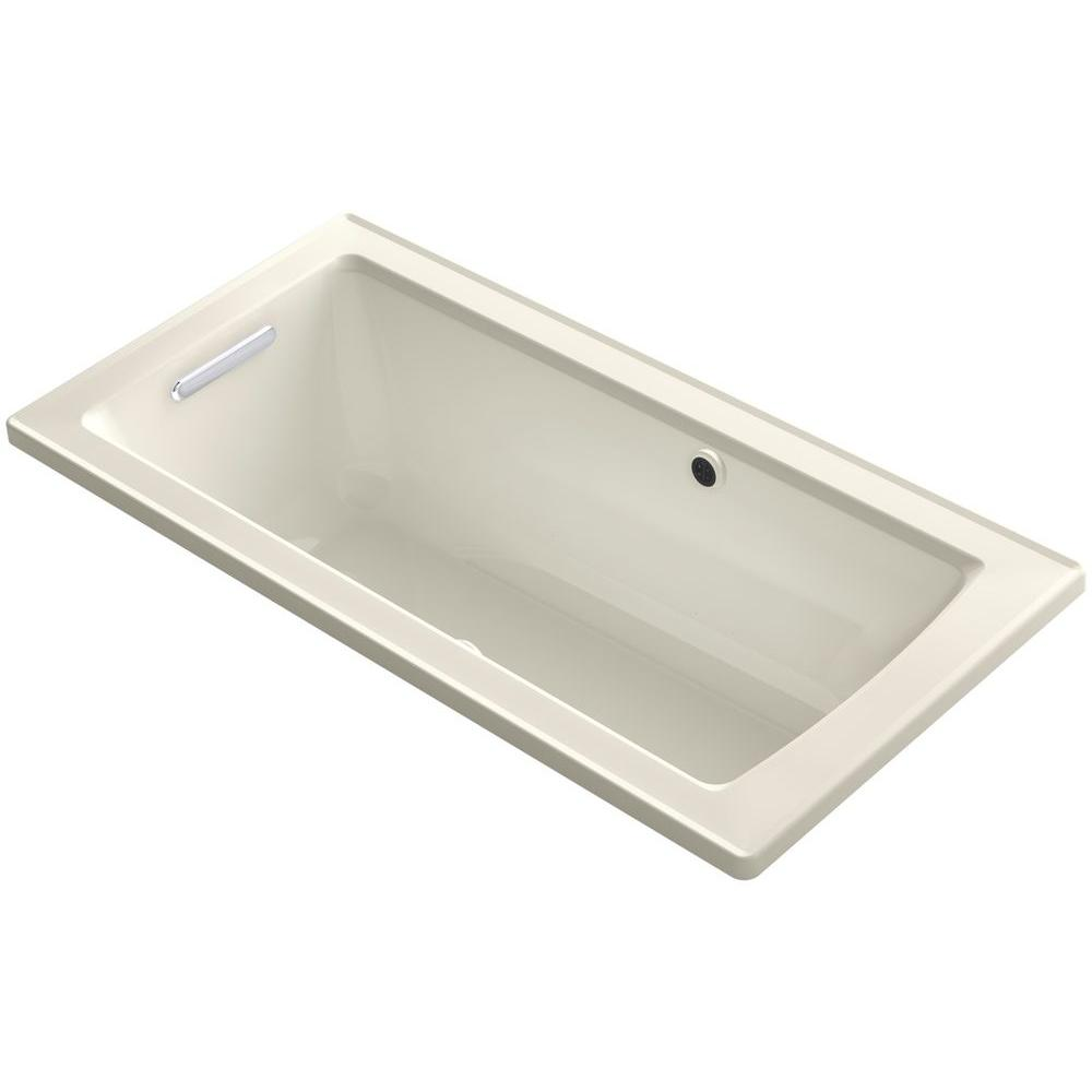 kohler archer 5 ft walk in whirlpool and air bath tub in biscuit k