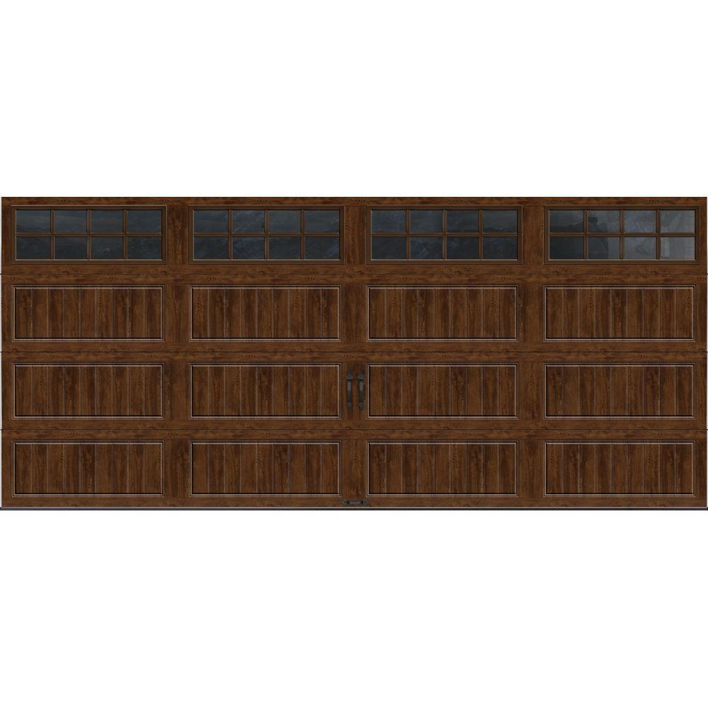 Clopay Gallery Collection 16 ft. x 7 ft. 6.5 R-Value Insulated Ultra-Grain Walnut Garage Door with SQ24 Window