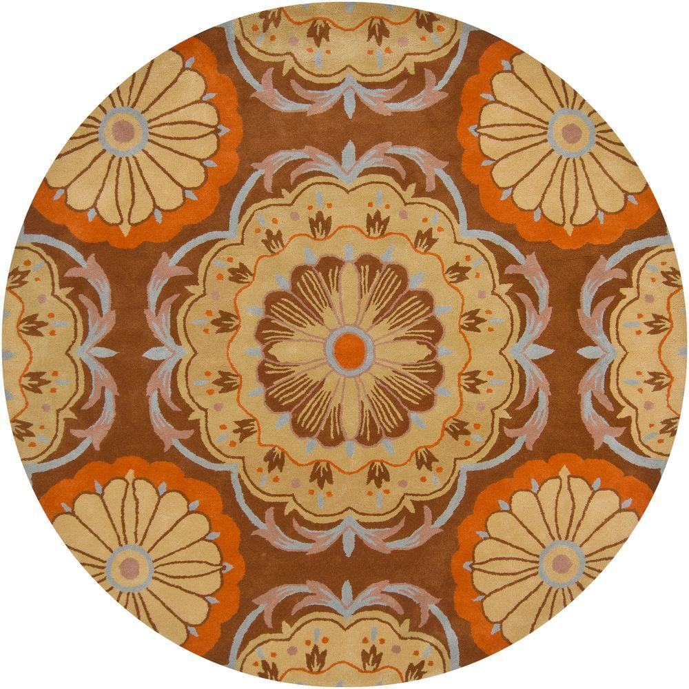 Chandra Dharma Brown/Blue/Orange/Tan 7 ft. 9 in. Indoor Round Area Rug