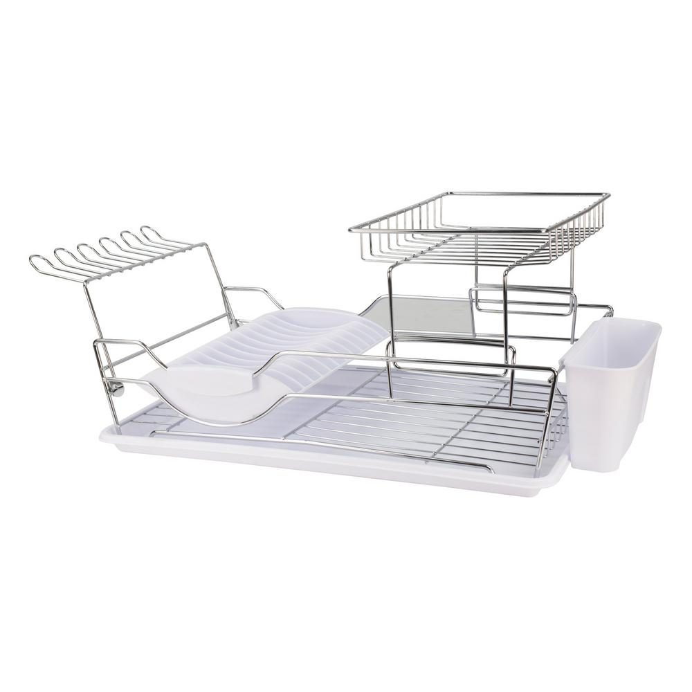 18.5 in. x 12.5 in. x 5.25 in. 2-Tier Dish Drainer