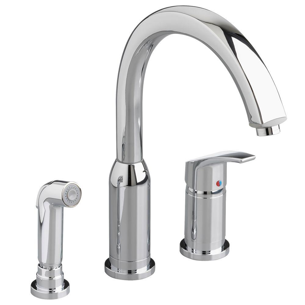 kitchen faucets american standard american standard arch single handle standard kitchen faucet with side sprayer in polished 9928