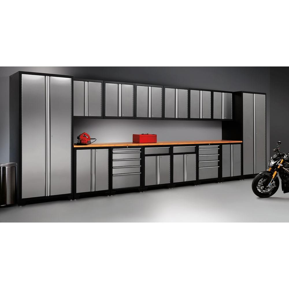 Newage products pro stainless steel 83 in h x 184 in w x 24 in d garage cabinet set in silver 12 piece 31709 the home depot