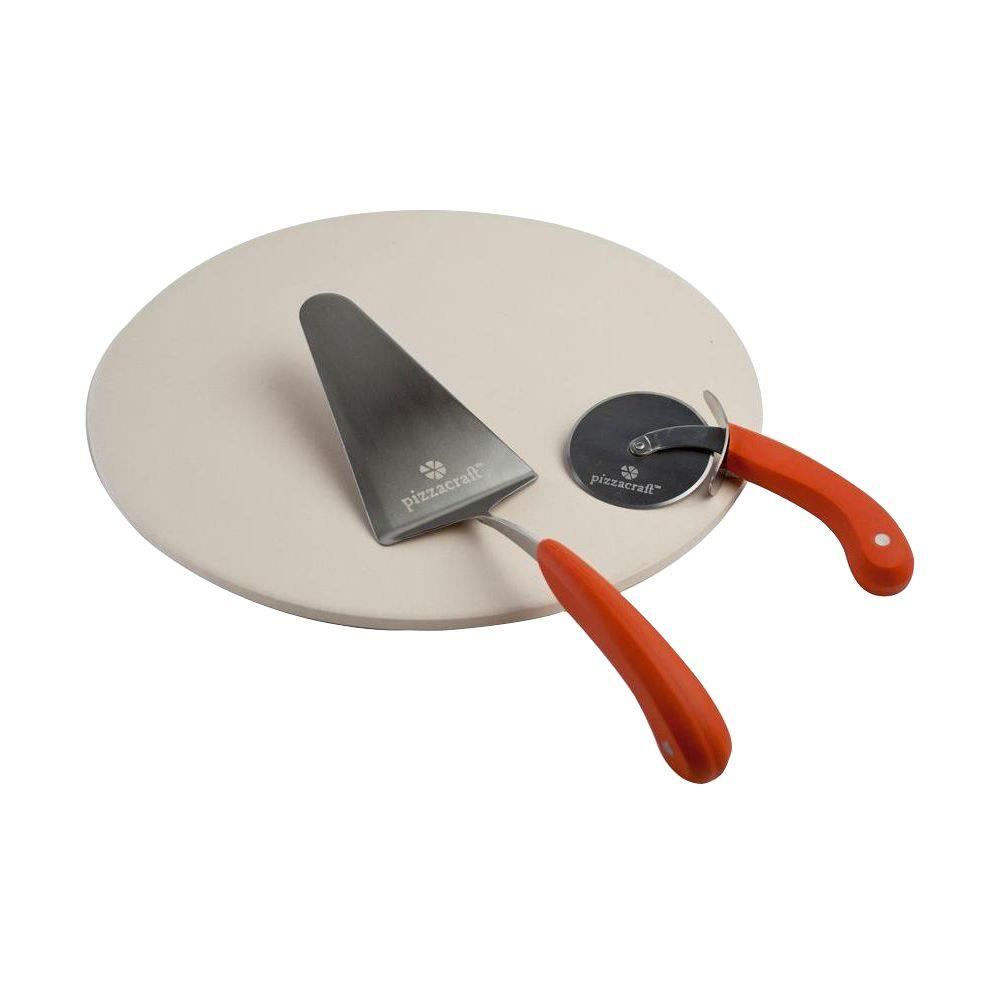 pizzacraft Round Pizza Stone with Cutter and Server (3-Piece)-PC0006 - The