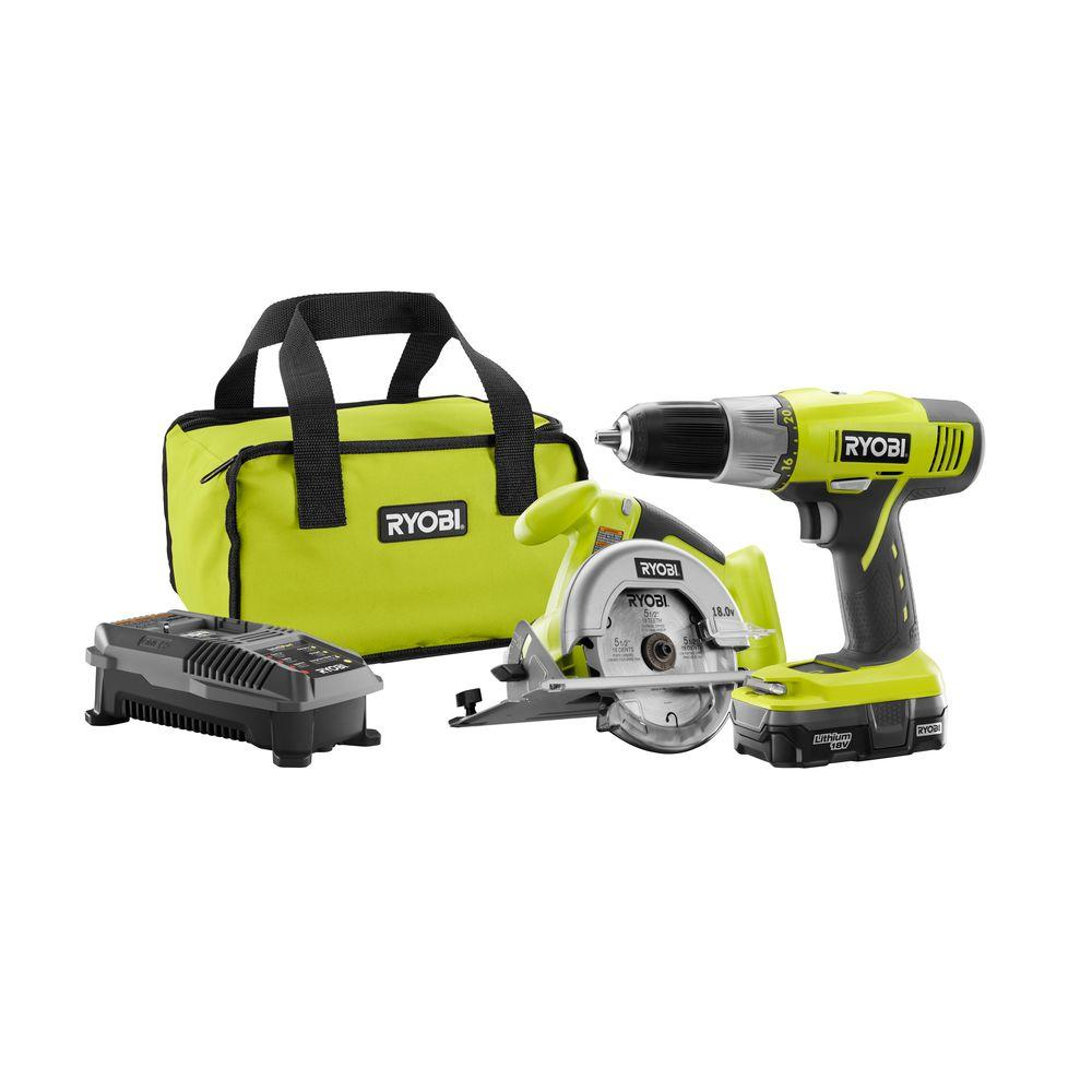 Ryobi Tool Sets 18-Volt One+ Lithium-Ion Starter Combo Kit (2-Tool) P825