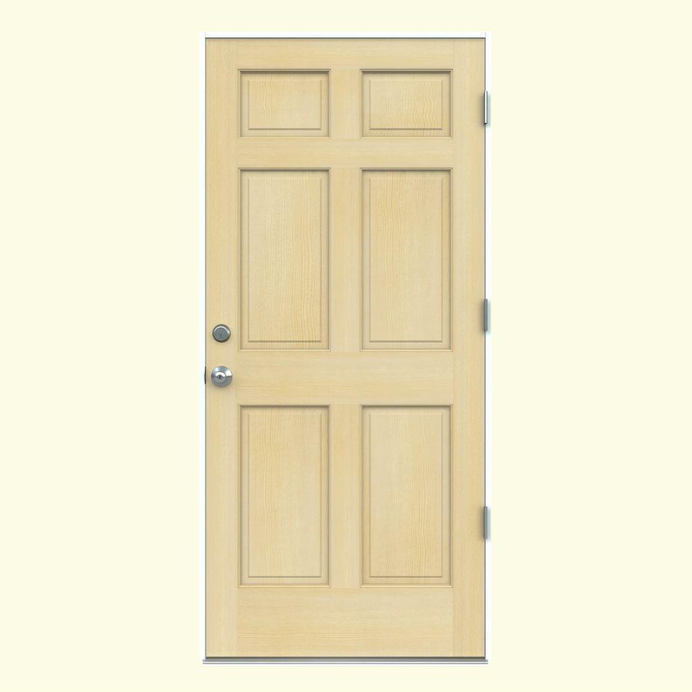 36 in. x 80 in. Authentic Wood 6-Panel Unfinished Hemlock Prehung Front Door with Primed White AuraLast Jamb