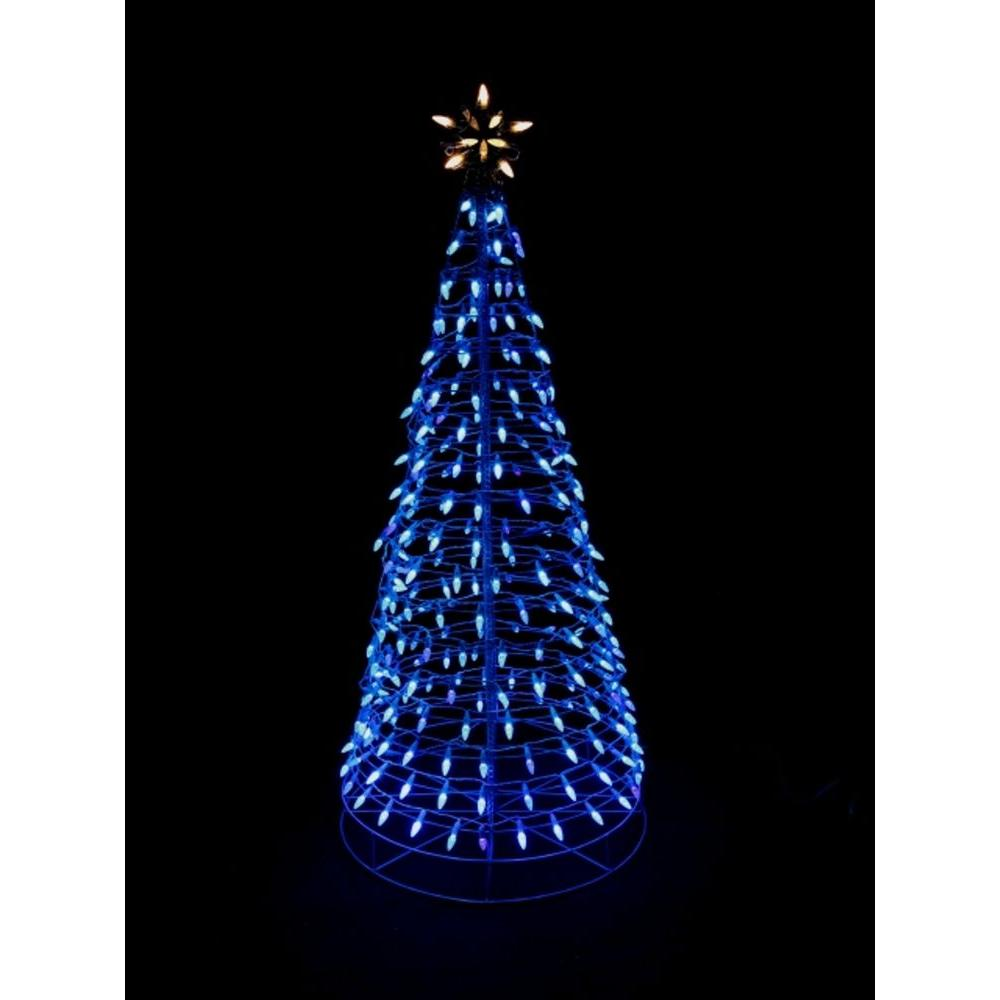 Home accents holiday 6 ft pre lit led blue twinkling tree for Led christmas decorations