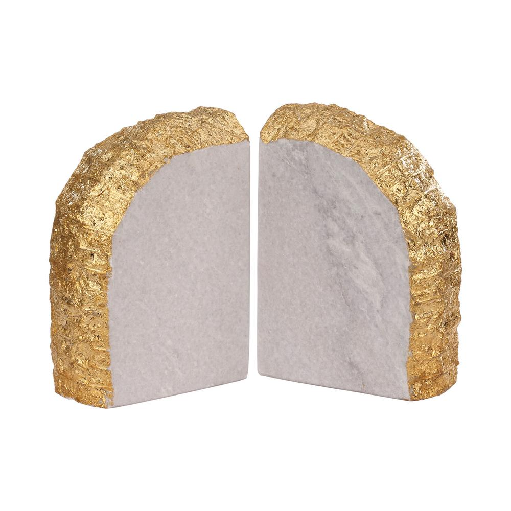 Glace 8 in. x 6 in. Gold And Natural Marble Bookends