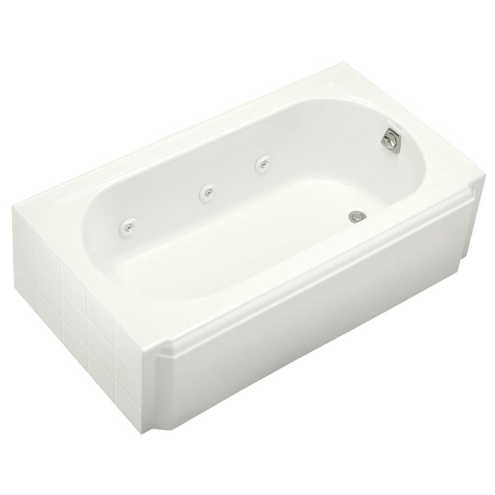 KOHLER Memoirs 5 ft. Whirlpool Tub with Heater and Right-Hand Drain in White