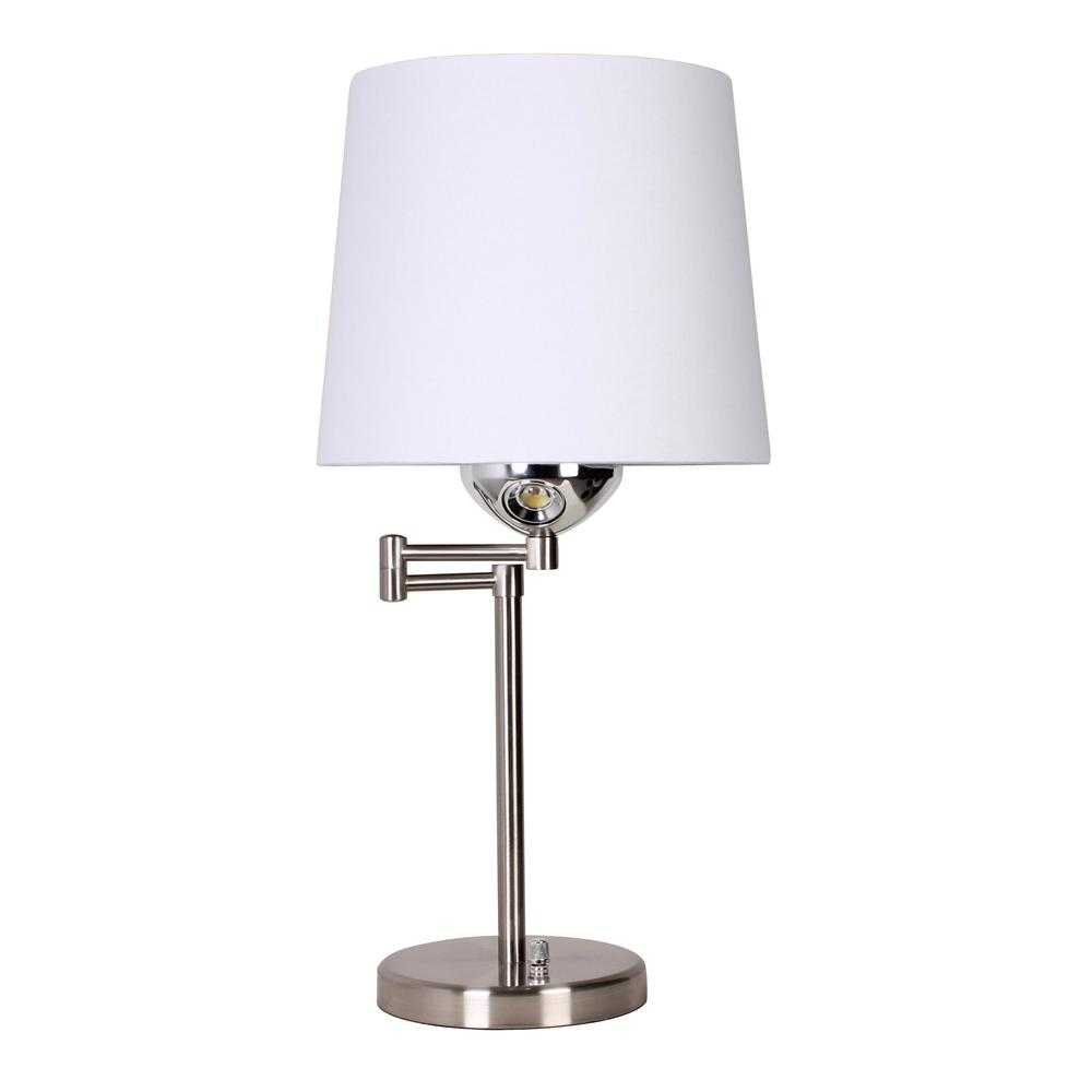 24 in. Brushed Nickel Desk Lamp with Swing Arm and LED