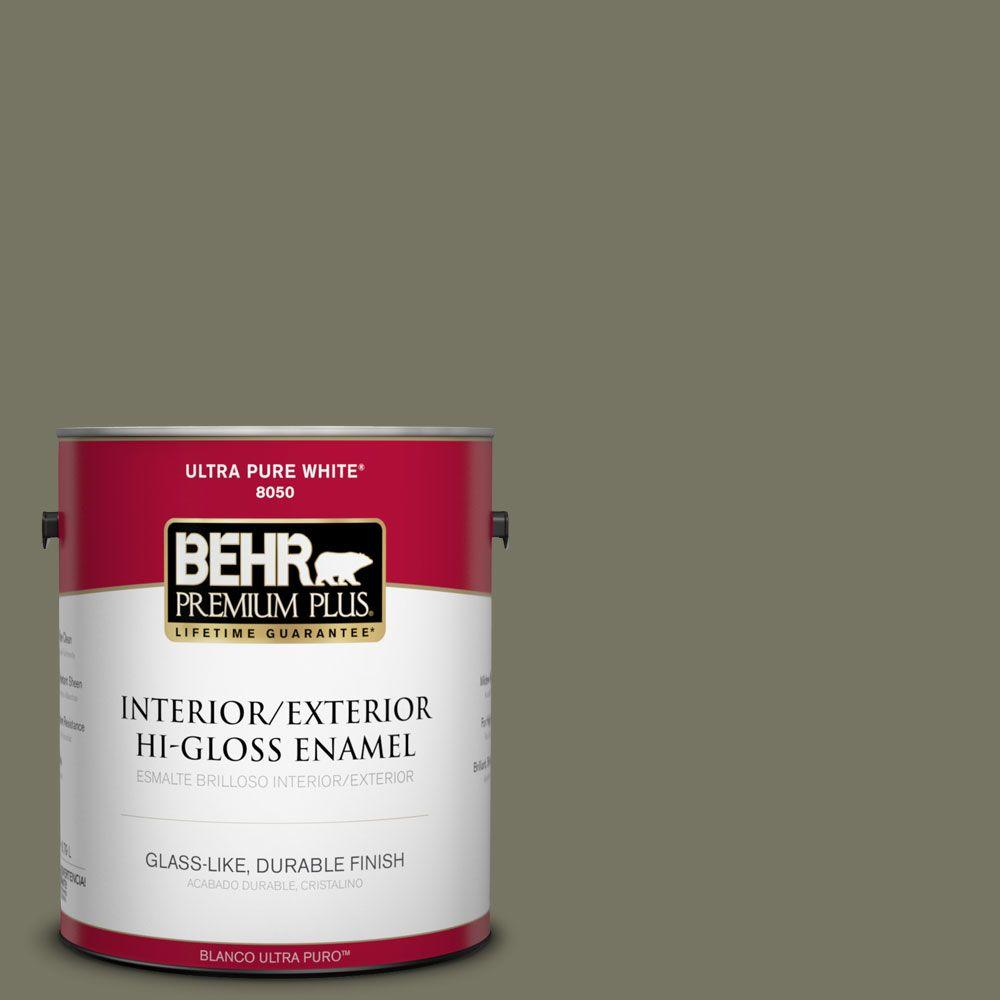 BEHR Premium Plus 1-gal. #N350-6 Peppergrass Hi-Gloss Enamel Interior/Exterior Paint