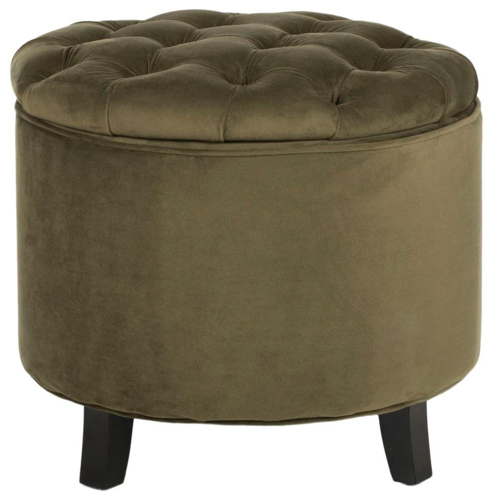 Safavieh Amelia Spruce Oak Cotton Tufted Storage Ottoman-HUD8220H - The Home