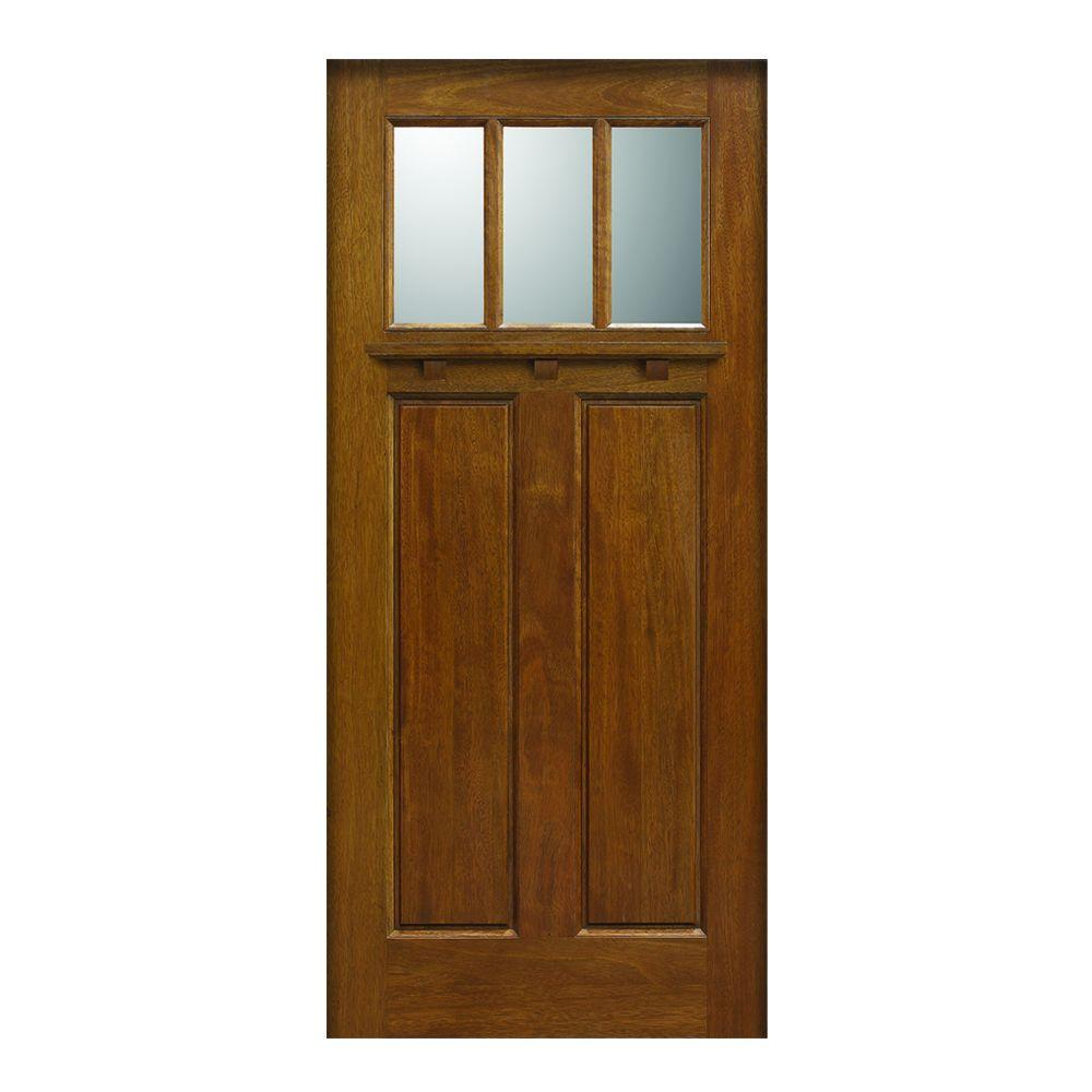 Main Door 36 In X 80 In Craftsman Collection 3 Lite Prefinished Walnut Solid Mahogany Type